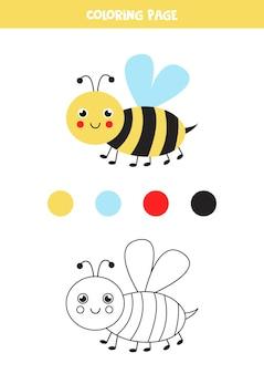 Farbe süße cartoon-biene. arbeitsblatt für kinder.