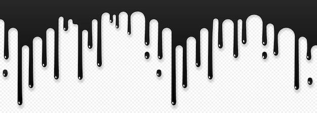 Farbe tropft symbol. strom fällt. schwarze farbe fließt. geschmolzene textur auf transparentem hintergrund isoliert. vektor-illustration eps 10
