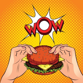 Farbe-vektor-illustration. burger in den händen. hamburger auf gelb