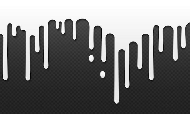 Farbe weiß tropfend. tropfende milchtropfen, geschmolzener weißer flüssiger joghurt. auf transparentem hintergrund isoliert. vektor-illustration eps 10