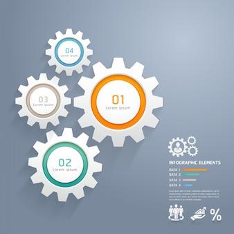 Farbe zahnräder infografiken anzahl optionen