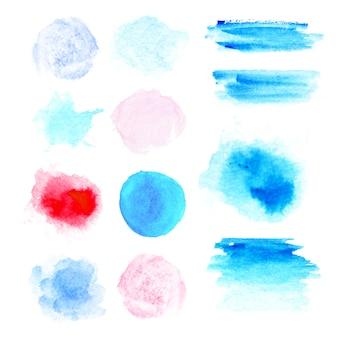 Farben aquarellfarben. echte aquarellbeschaffenheit. aquarell spritzt und punktiert textur. in blauer, rosa und roter farbe Premium Vektoren