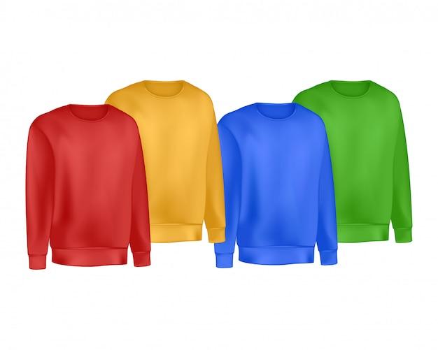 Farben bemannt kleidungssatz des sweatshirts und des raglanpullovers