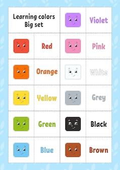 Farben lernen flashcard für kinder süße zeichentrickfiguren