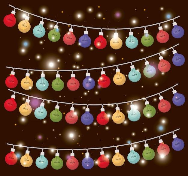 Farben weihnachtsbeleuchtung hängen dekoration