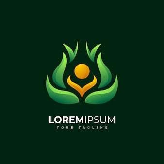 Farbenfrohes abstraktes natur-meditierendes yoga-logo
