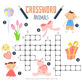 Farbenkreuzworträtsel, bildungsspiel für kinder über tiere