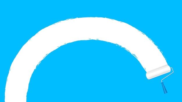 Farbenrollenweiß auf blauer wandhintergrund- und -kopienraum simsen werbungsfahne
