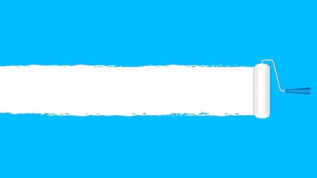 Farbenrollenweiß auf der blauen wand für fahnenhintergrund