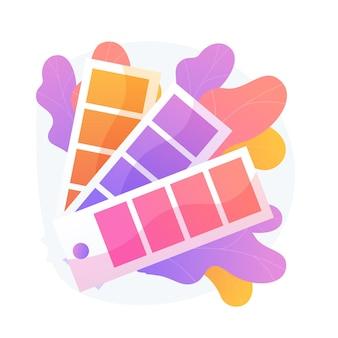 Farbfeldpalette. farbmuster fächer, innenarchitektur farben, spektrum skala. grafikdesignerführer isolierte clipart auf weißem hintergrund.