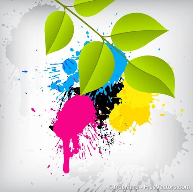 Farbflecken mit blättern