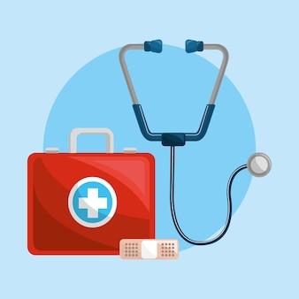 Farbgesundheitswesen, stethoskop und pflasterikone