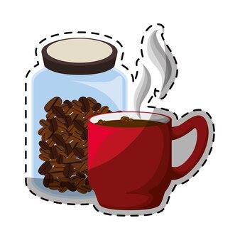 Farbglas-kaffeeflasche mit tasse kaffee