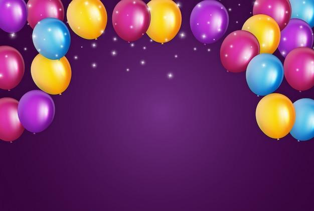 Farbglatte alles- gute zum geburtstagballon-fahnen-illustration