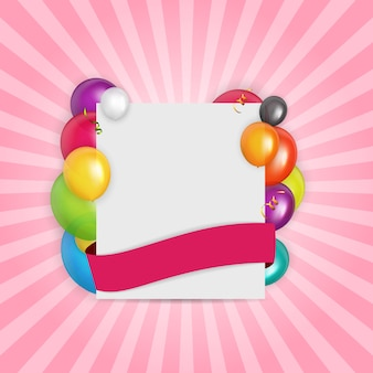 Farbglatte ballongeburtstagskarte illustration