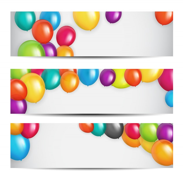 Farbglatter alles- gute zum geburtstagballon-fahnen-hintergrund