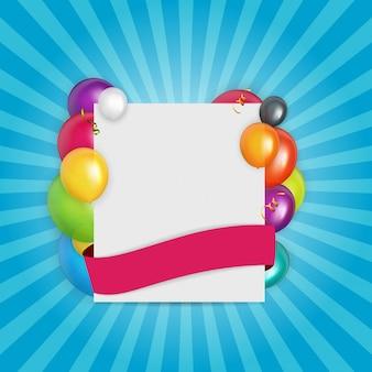 Farbglatter ballon-glückwunschkartehintergrund