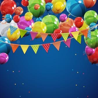 Farbglattes alles gute zum geburtstag steigt hintergrund-vektor-illustration im ballon auf