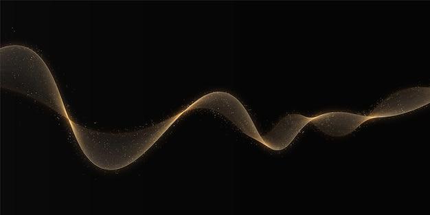Farbgoldwelle mit glitzereffekt auf dunklem hintergrund