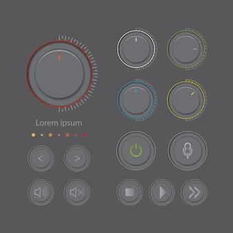 Farbgraues knopfsymbolmultimedia auf dunklem farbhintergrund