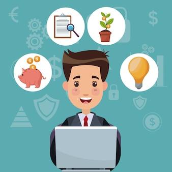 Farbhintergrundanalytikinvestition mit geschäftsmann arbeiten in der laptop- und blasenikonenwirtschaft