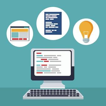 Farbhintergrundschreibtischcomputergerät mit ikonen im kreisrahmen der netzentwicklung