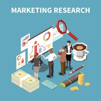 Farbige 3d geschäftsstrategiezusammensetzung mit marktforschungsbeschreibung und isometrischer attributillustrationsillustration
