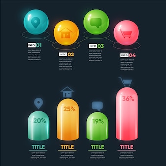 Farbige 3d-hochglanz-infografik mit details