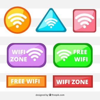 Farbige auswahl von wifi-tasten