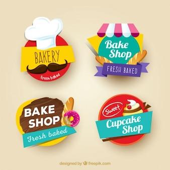 Farbige bäckerei-aufkleber-set
