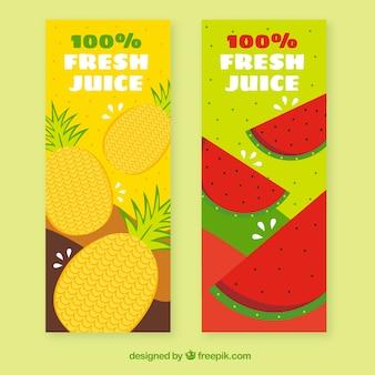 Farbige banner mit ananas und wassermelonen