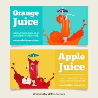 Farbige banner mit apfel und orangensäften