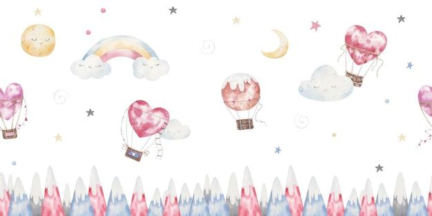 Farbige berge herzförmige luftballons bewölkt kinderillustration in aquarell zum valentinstag