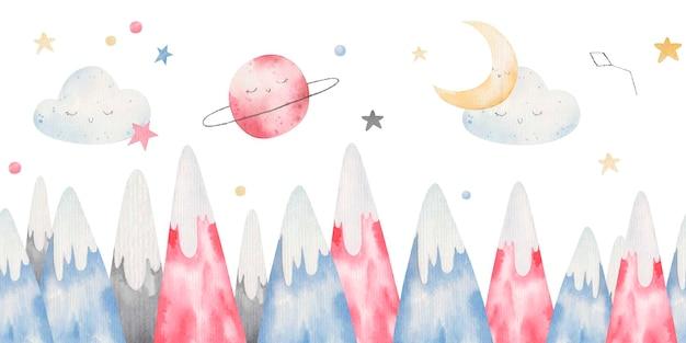Farbige berge, wolken, sterne, natur, kinderillustration in aquarell