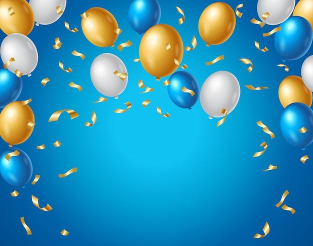 Farbige blau-, weiß- und goldballone und goldener confetti auf einem blauen hintergrund. bunter geburtstagsjahrestagshintergrundvektor