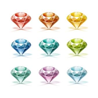 Farbige blaue türkisfarbene lila lila gelbe orange grüne rote diamanten