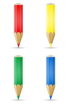 Farbige bleistifte für das zeichnen der vektorillustration