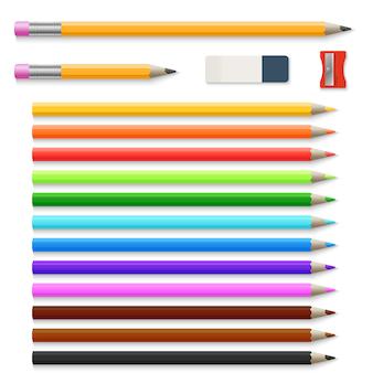Farbige bleistifte, radiergummi und bleistiftspitzer lokalisiert auf weißem vektorsatz