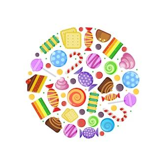 Farbige bonbons. schokoladen-karamell-kuchen, obstkekse und andere verschiedene süßigkeiten in kreisform