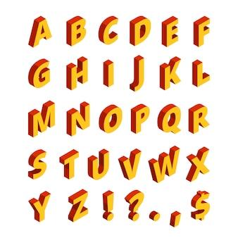 Farbige buchstaben im isometrischen stil. 3d alphabet abc-blockstil geometrisch