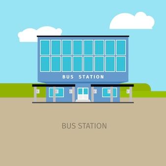 Farbige busbahnhofgebäudeillustration