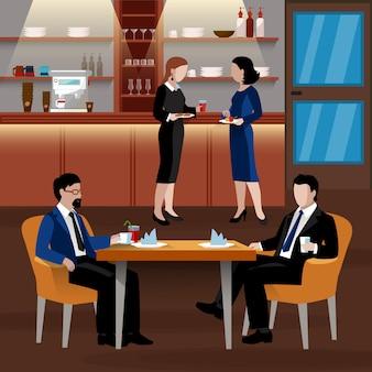 Farbige business-lunch-leute-zusammensetzung