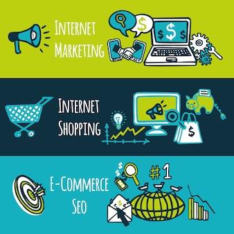 Farbige dekorative fahnen der skizze des seo-internet-marketing-einkaufse-e-commerce stellten lokalisierte vektorillustration ein