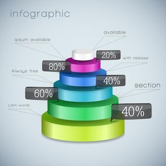 Farbige dreidimensionale pyramidenschablone mit ausgewählten elementen unterschiedlicher größe