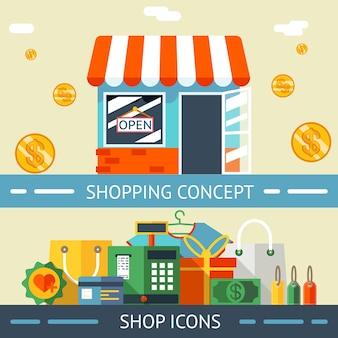 Farbige einkaufskonzept- und symbolgrafikdesigns auf hellgelbem hintergrund.