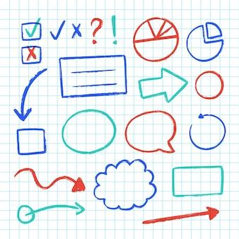 Farbige elemente der schule infografisch gesetzt