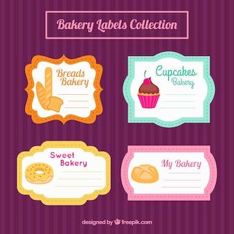 Farbige etiketten bäckerei