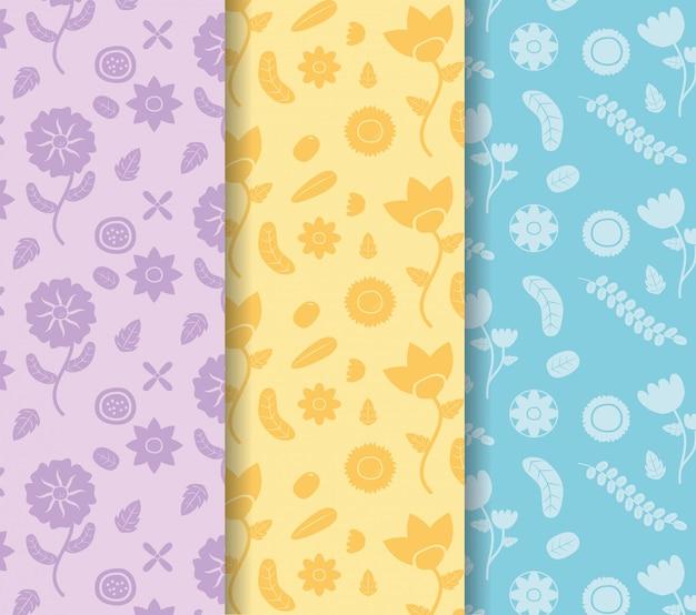 Farbige fahnen blüht dekoration farbige blume blaue, gelbe, purpurrote illustration