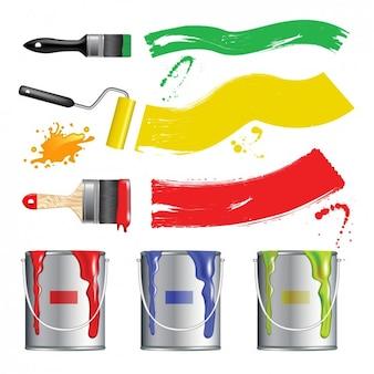 Farbige farbeimer design Kostenlosen Vektoren
