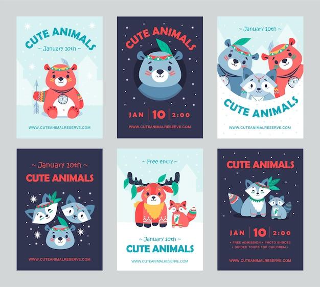 Farbige feierpartyeinladungsentwürfe mit stammestieren. kreative feiertagseinladungen mit tieren, die zubehör tragen